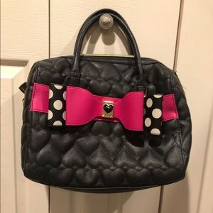 Betsey johnson black hearts pink polka dot bag